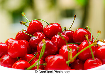 Sweet cherries - Closeup of the fresh sweet cherries in the...