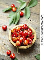 sweet cherries in a plate