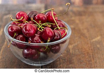 Sweet cherries in plate