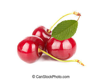 Sweet cherries isolated on a white background