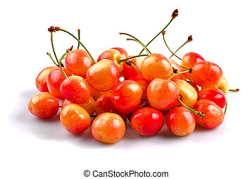 Sweet cherries isolated - Heap of sweet cherries on isolated...