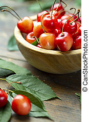 sweet cherries on the table