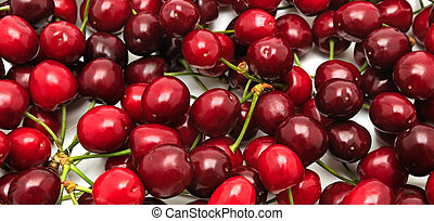 sweet cherries on white background