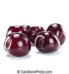 sweet cherries on white background