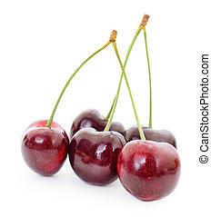 Sweet Cherries with stems on a white background