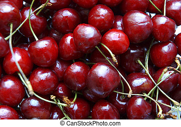 sweet cherries in close up