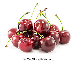 Sweet cherries isolated on white background