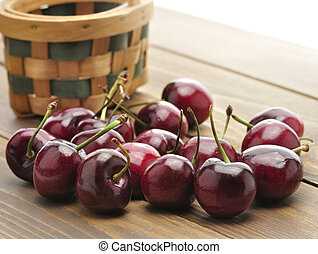 Sweet Cherries With A Basket,Close Up