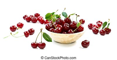 Sweet cherries - A bowl with sour cherries, diet concept