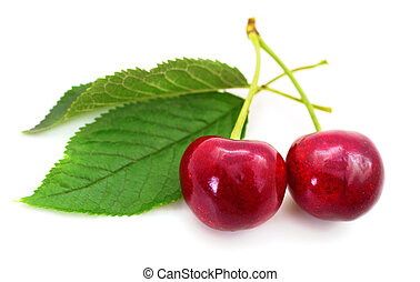 Sweet cherries with stem and leaves.