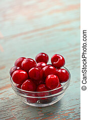 Sweet Cherry Bowl on Rustic Table