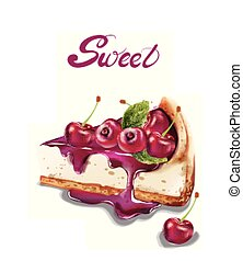 Sweet cherry cheesecake Vector watercolor. delicious desserts with fruit topings