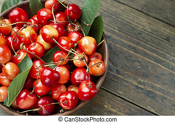 Sweet cherry in a plate.