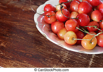 Sweet cherry in a plate