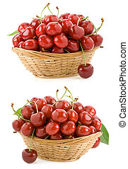 sweet cherry in bowl isolated on white