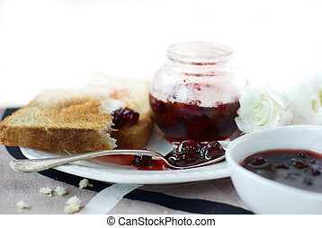 Sweet cherry jam, toast and flowers - Sweet cherry jam, ...