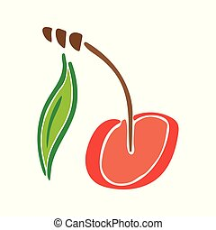 Sweet cherry juicy fruit leaf vector color abstract garden icon. Simplified retro illustration. Wrapping or scrapbook paper background.Childish doodle art. Element design, wallpaper, fabric printing.