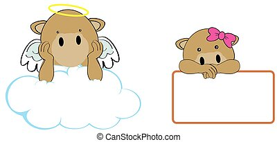 camel girl and boy angel cartoon se