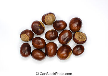 Sweet chestnuts collection on white - Collection of sweet...