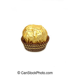 Sweet chocolate balls with almond wrapped in gold foil paper on white