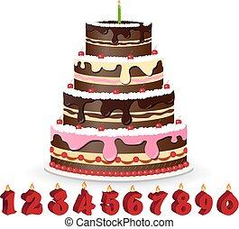 Sweet chocolate cake for birthday holiday