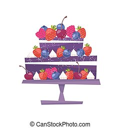 Sweet chocolate cake for birthday holiday. Vector illustration. Isolated on white background.