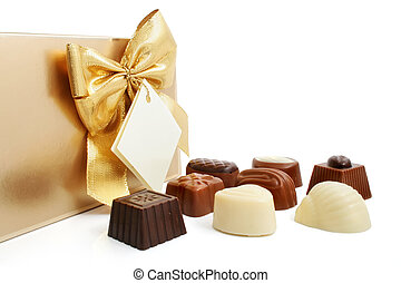 sweet chocolate candies with box isolated