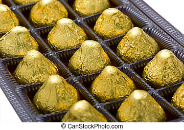 sweet chocolate candy in box closeup