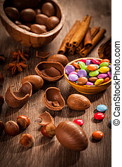 Sweet chocolate eggs and smarties for Easter
