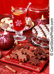 Sweet chocolate for Christmas with marchpane cake amd wine punch