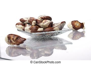 Sweet chocolate on white background