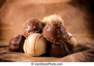 Sweet and tasty Belgium white and dark chocolate pralines