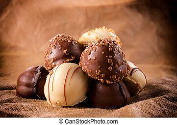 Sweet and tasty Belgium white and dark chocolate pralines