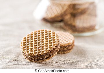 Sweet chocolate wafer biscuits. - Sweet chocolate wafer...