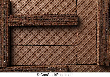 Sweet chocolate wafers texture background, close up