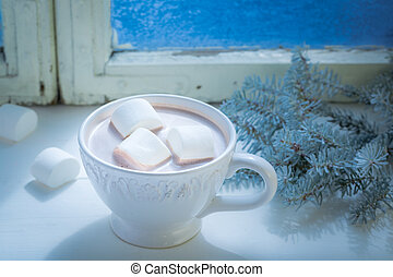 Sweet chocolate with marshmallows for Christmas