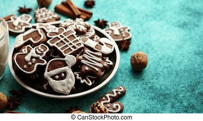 Sweet Christmas composition. Assortment of gingerbread...
