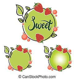 Sweet Circle Line Healthy Strawberry Fruit Frame Banner