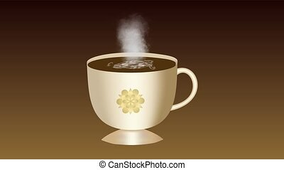 Sweet coffee. An animated cup of coffee with foam. The smoke...