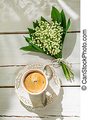 Sweet coffee with flowers