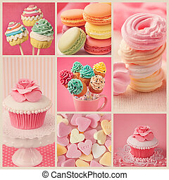 Sweet collage - Collage of photos with pastel colored...