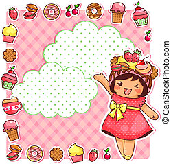 sweet collection - cute cartoon girl and a collection of...