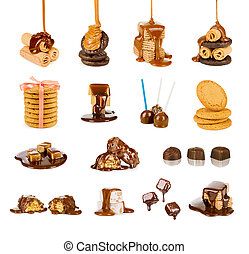 sweet collection of products on a white background