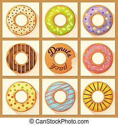 Sweet colorful baked glazed donuts or doughnuts set with sprinkles