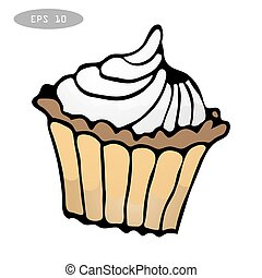 Sweet colorful cupcake vector illustration