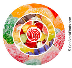 Sweet Confectionery Collage - Delicious Sweets Background...