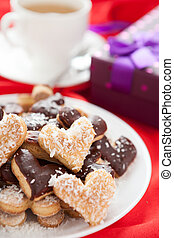 sweet cookies for with coconut and chocolate Valentine's Day