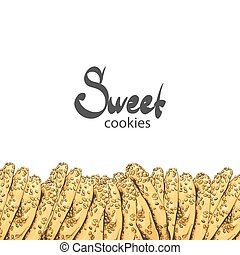 Sweet cookies on a white background