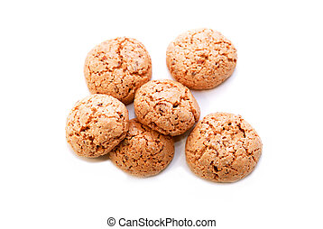 sweet cookies - few sweet round cookies on white background