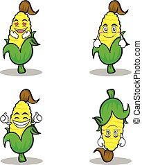 sweet corn character cartoon set collection